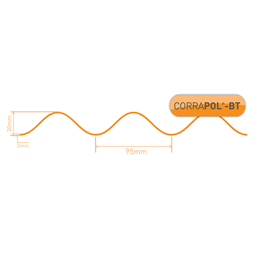 Corrapol-BT Corrapol-BT Red Corrugated Bitumen Sheet 930 X 2000mm Image 3