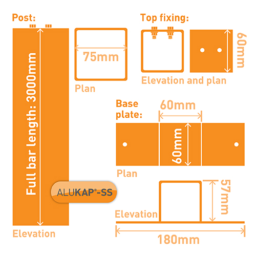 Alukap-SS Complete post & bracket kit 3000mm Brown Image 3
