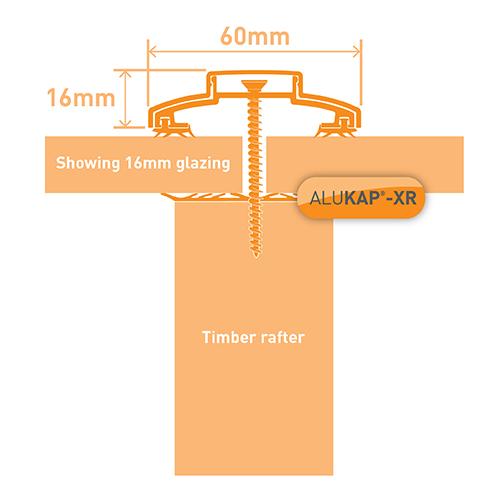 Alukap-XR 60mm Bar 6.0m 45mm RG PC Alu E/Cap Image 3