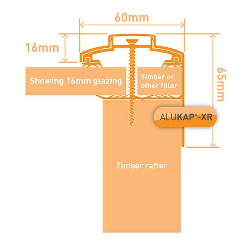 Alukap-XR 60mm Gable Bar 3.6m 45mm RG BR Alu E/Cap Image 3
