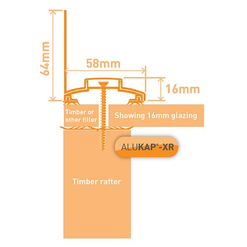 Alukap-XR 60mm Wall Bar 3.0m 45mm RG BR Alu E/Cap Image 3