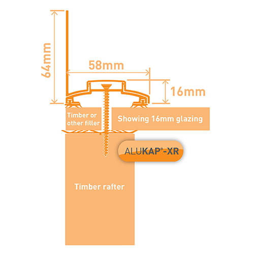 Alukap-XR 60mm Wall Bar 3.6m 45mm RG WH Alu E/Cap Image 3