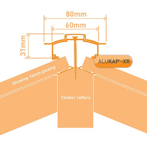 Alukap-XR Hip Bar 3.0m 45mm RG PC Alu E/Cap Image 3